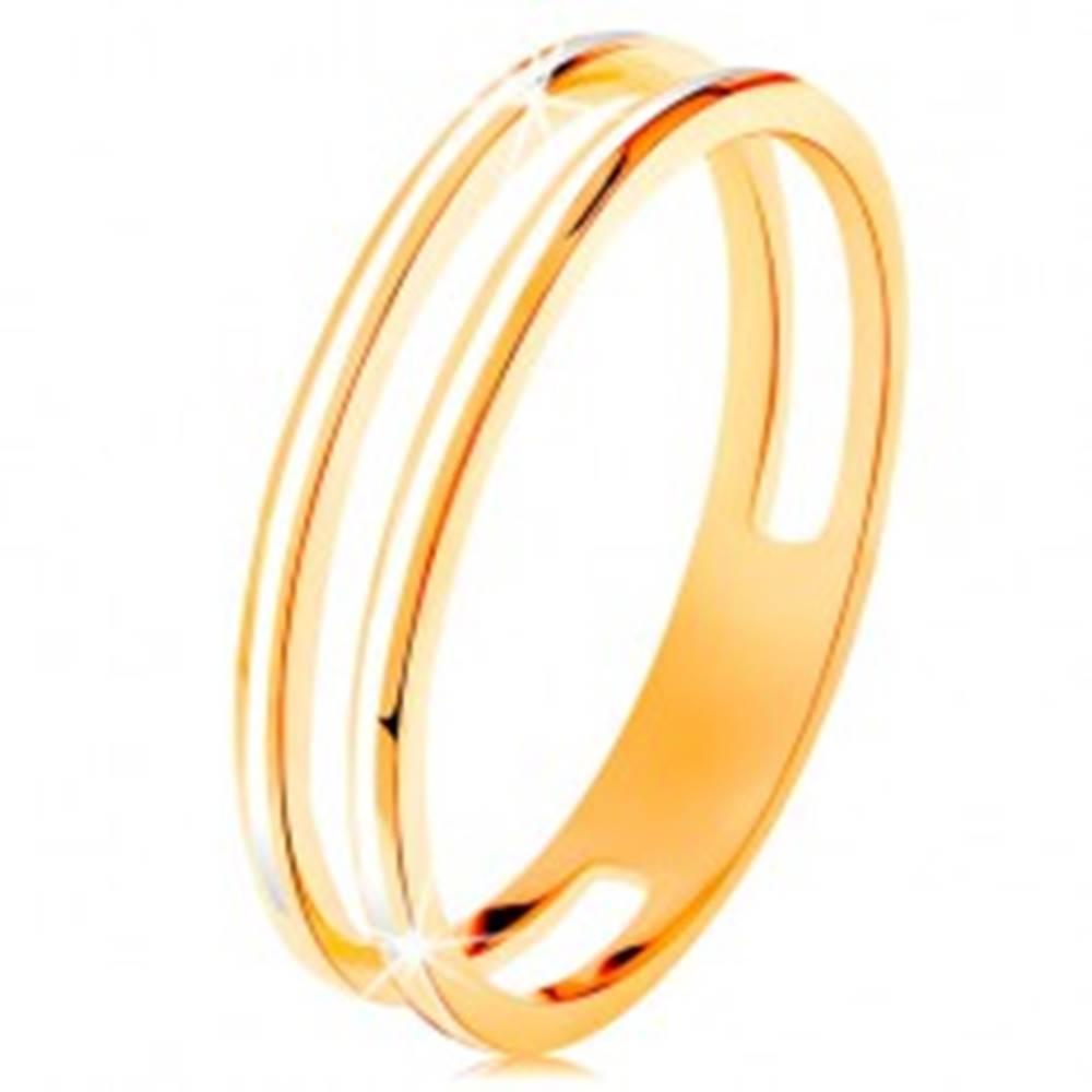 Šperky eshop Prsteň v žltom zlate 585, dve úzke obruče zdobené bielou glazúrou - Veľkosť: 48 mm