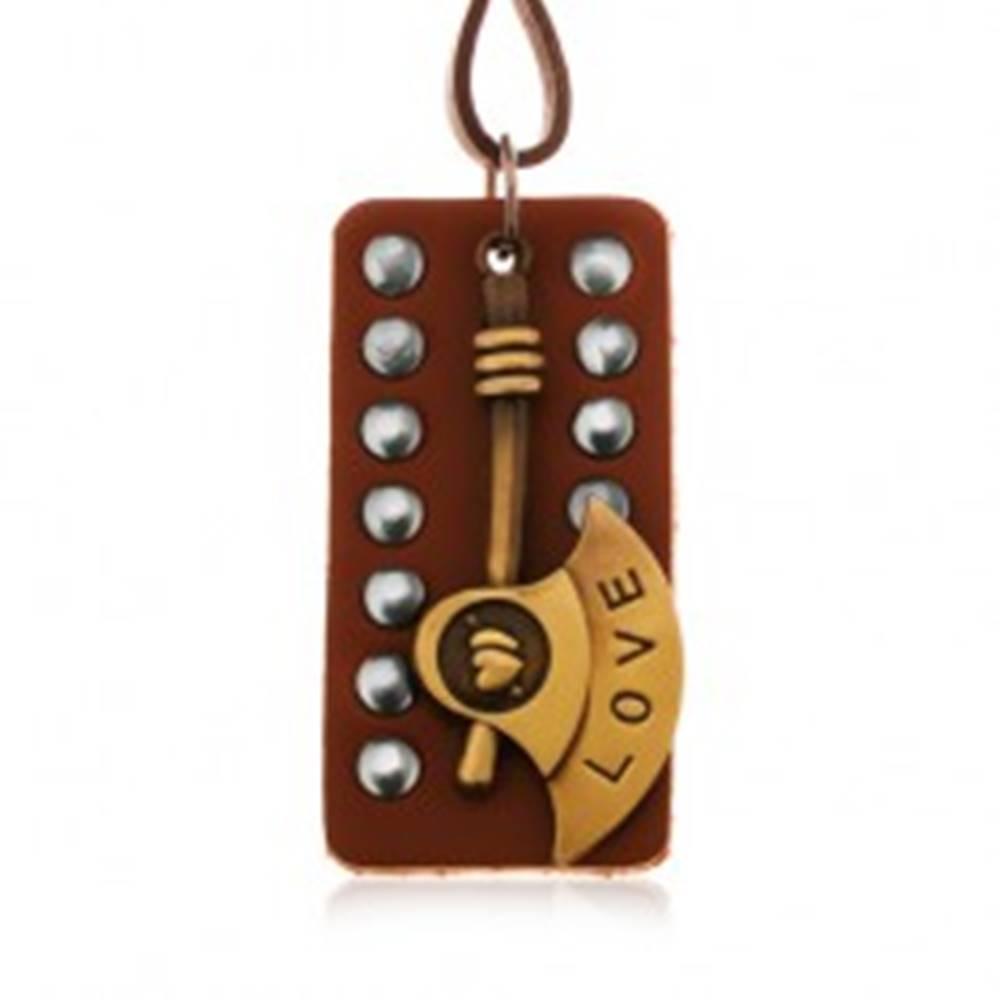 Šperky eshop Tmavohnedý náhrdelník zo syntetickej kože, vybíjaná známka, sekera s nápisom