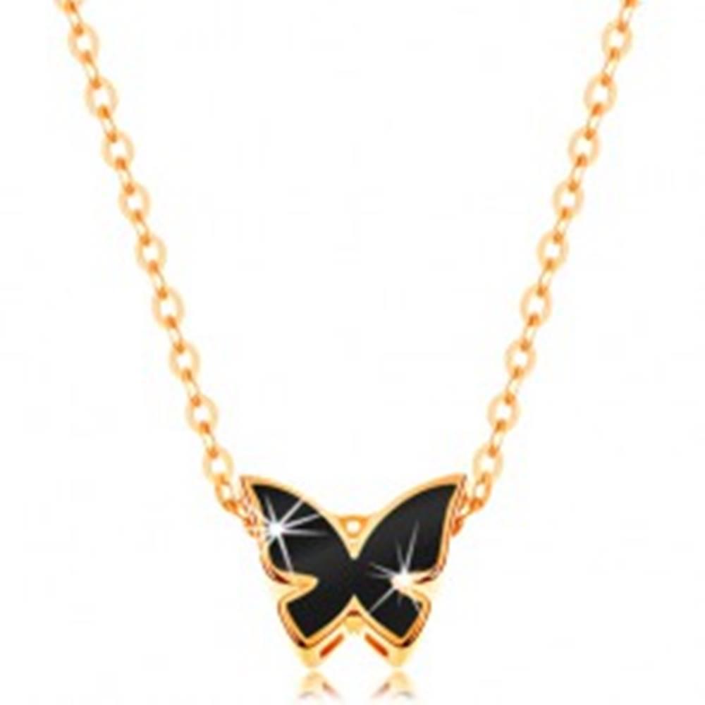 Šperky eshop Zlatý 14K náhrdelník - lesklá retiazka, motýľ zdobený glazúrou čiernej farby