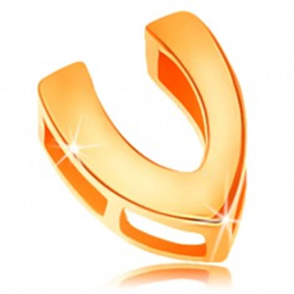 Šperky eshop Zlatý 14K prívesok s lesklým a hladkým povrchom, tlačené písmeno V
