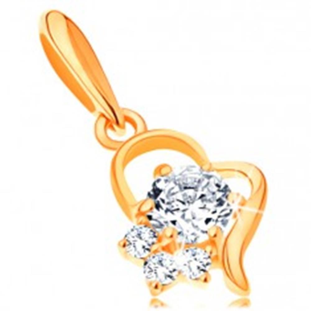 Šperky eshop Zlatý prívesok 585 - kontúra nepravidelného srdca s čírymi zirkónmi