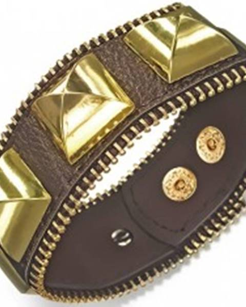 Šperky eshop Mohutný kožený náramok - hnedý s pyramídami zlatej farby, zips
