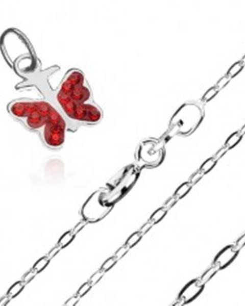 Šperky eshop Náhrdelník - retiazka a prívesok červeného motýľa, striebro 925