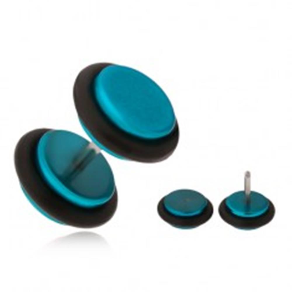 Šperky eshop Azúrovomodrý fake plug do ucha, akrylové kolieska