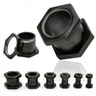 Čierny oceľový tunel do ucha, šesťuholníkový, šrubovací - Hrúbka: 10 mm