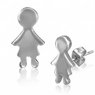 Hladké puzetové náušnice z ocele v podobe malého chlapca