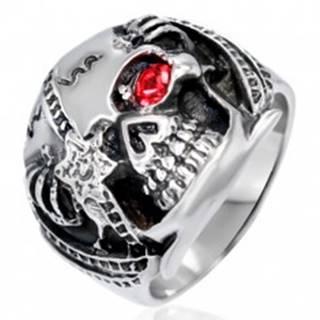 Mohutný prsteň z ocele - lebka bojovníka s červeným zirkónom, patina - Veľkosť: 54 mm