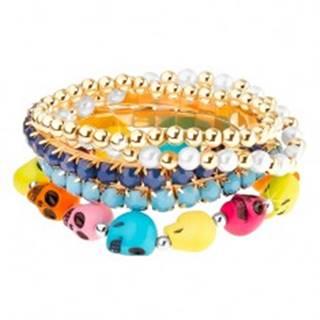 Multináramok - elastický, guľaté korálky, korálky v kotlíku, farebné lebky