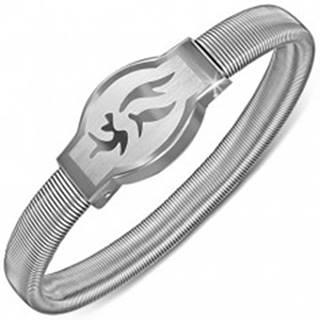 Náramok z ocele - zaoblená známka s kmeňovým symbolom, rozťahovací