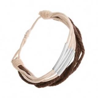 Nastaviteľný náramok zo šnúrok, biely a hnedý odtieň, oceľové články