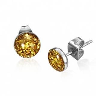Oceľové náušnice s trblietkami zlatej farby v kruhu s glazúrou