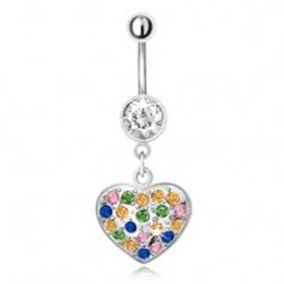 Piercing do bruška z ocele s príveskom, viacfarebné zirkónové srdce