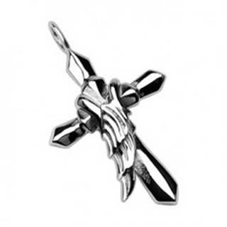 Prívesok z chirurgickej ocele - kríž s krídlom anjela