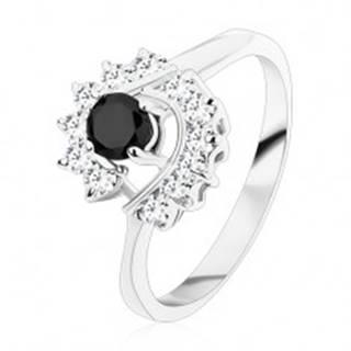 Prsteň so zúženými ramenami, okrúhly čierny zirkón, číre zirkónové oblúky - Veľkosť: 49 mm