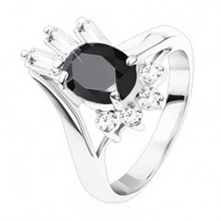 Prsteň striebornej farby, čierny oválny zirkón, okrúhle a obdĺžnikové zirkóniky - Veľkosť: 48 mm