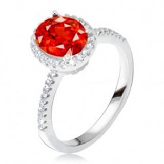 Prsteň zo striebra 925, vystúpený zirkónový kotlík, červený kameň - Veľkosť: 50 mm
