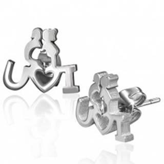 Puzetové oceľové náušnice - zaľúbený párik s vyznaním lásky