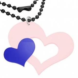 Ružovo - modrý prívesok z akrylu, veľké a malé srdce