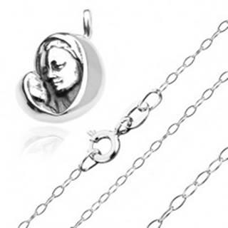 Strieborný 925 náhrdelník - Madona s dieťatkom na ligotavej retiazke