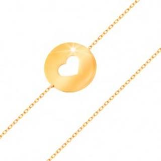 Zlatý 14K náramok - kruh so srdiečkovým výrezom a plochým lesklým povrchom