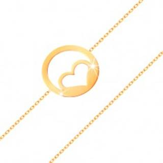 Zlatý náramok 585 - kontúra súmerného srdca v obruči, vysoký lesk