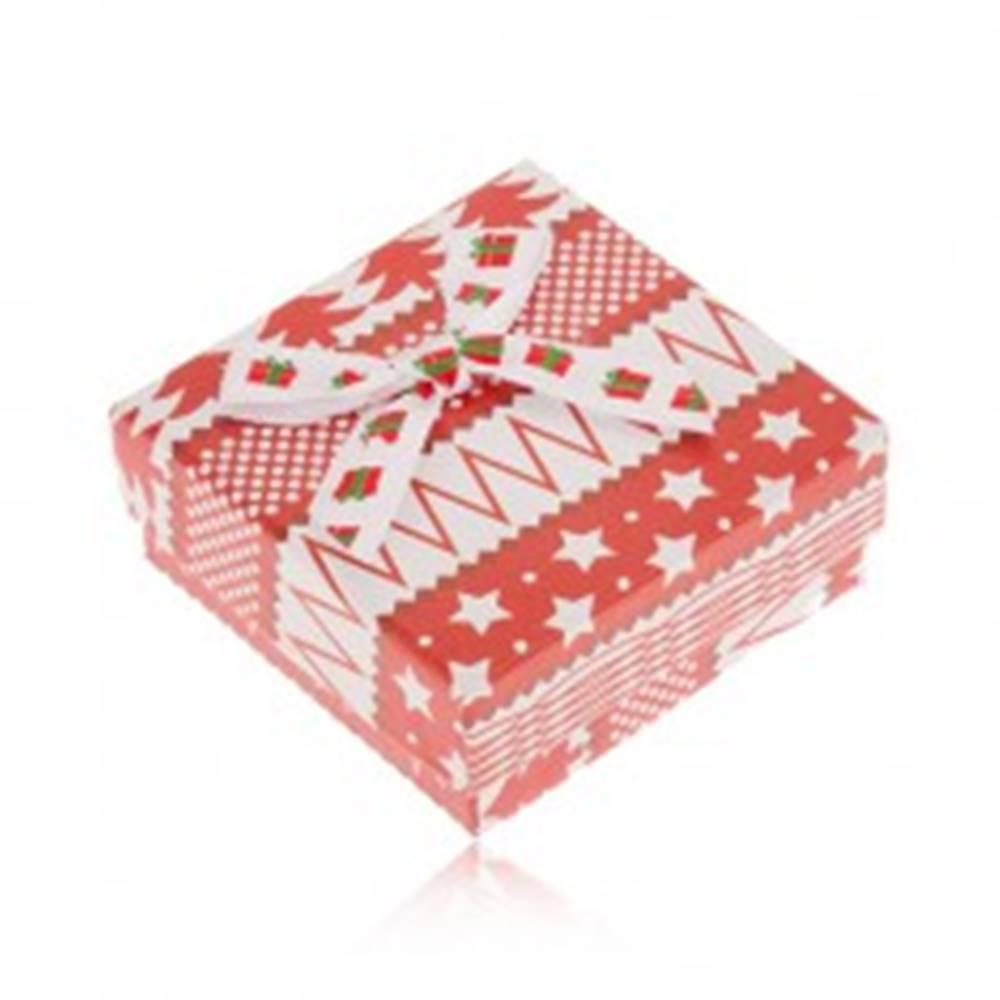Šperky eshop Červeno-biela krabička na náušnice, hviezdy, stromy, guličky, mašľa