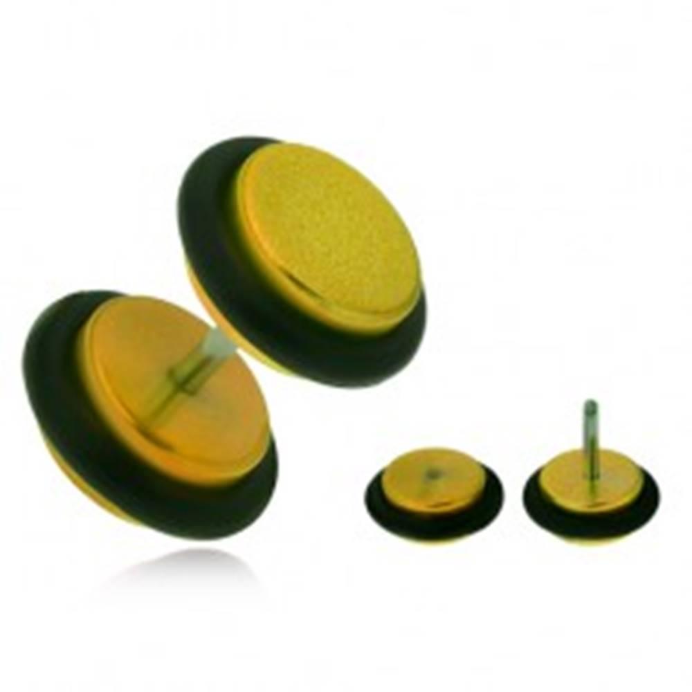 Šperky eshop Falošný plug do ucha z akrylu, lesklé žlté kolieska