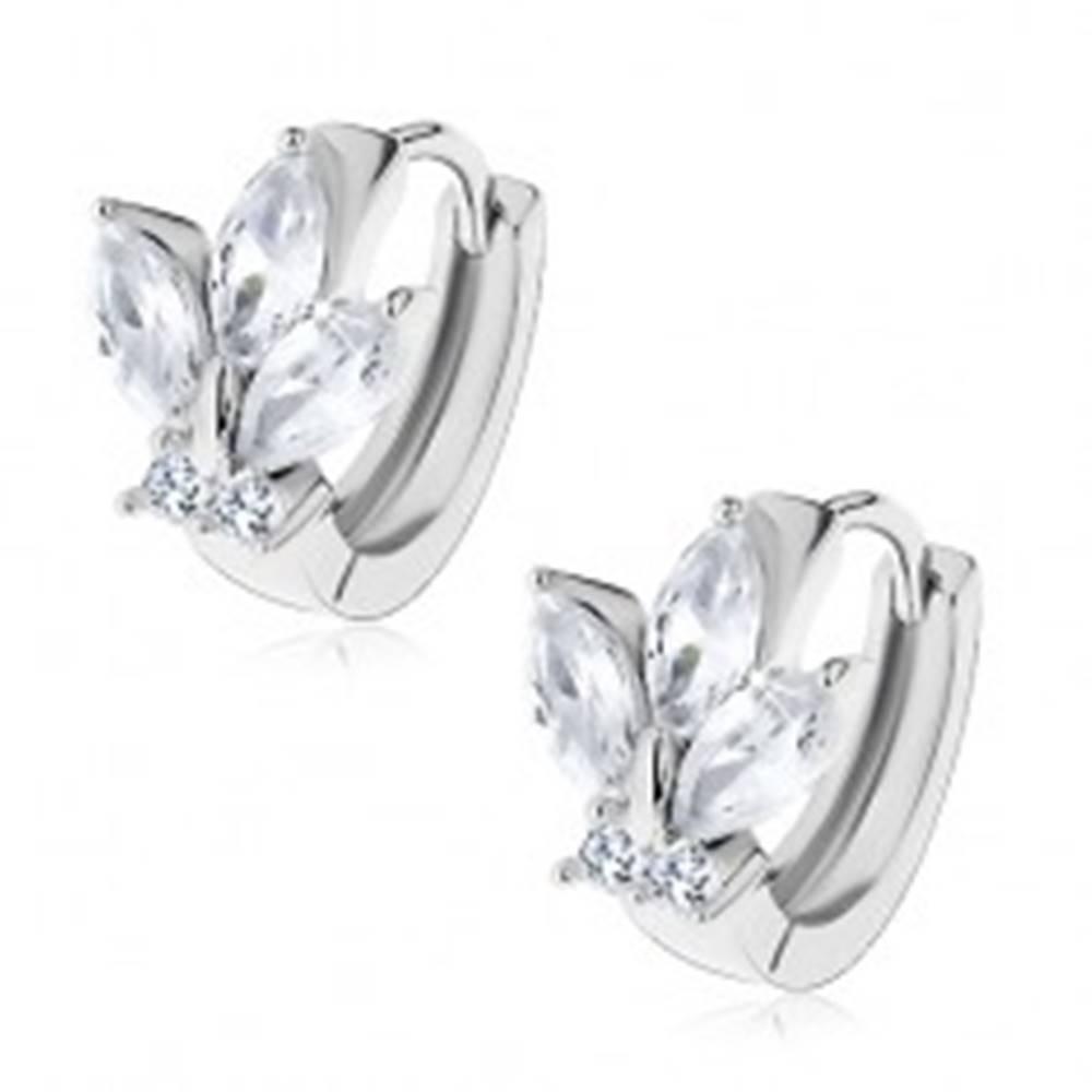 Šperky eshop Lesklé náušnice - obruč striebornej farby s okrúhlymi a zrnkovými zirkónmi