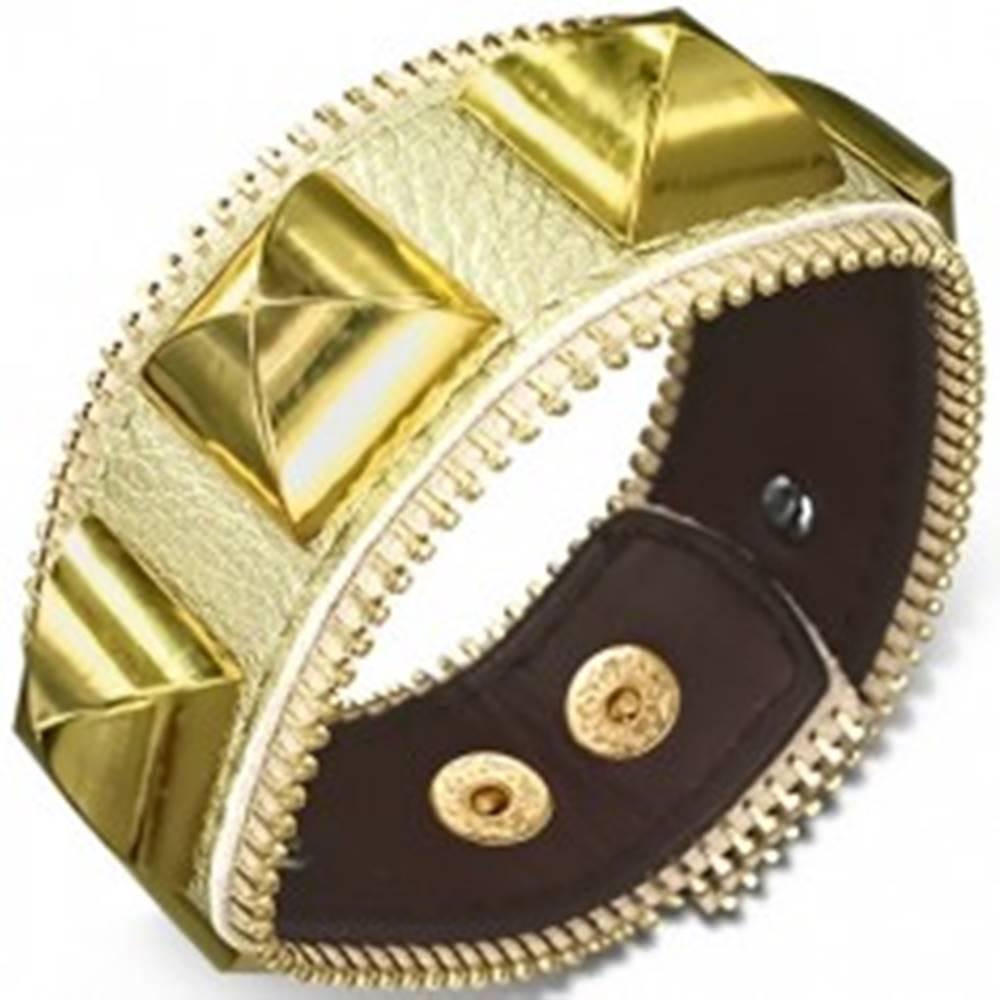 Šperky eshop Mohutný kožený náramok - s pyramídami zlatej farby, zips