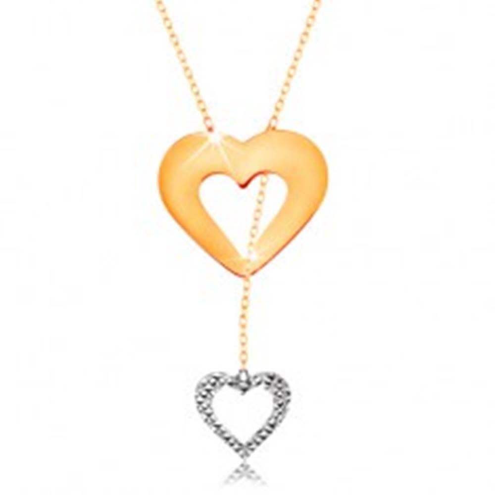 Šperky eshop Náhrdelník v 14K zlate - jemná retiazka, obrys srdca a visiaceho srdiečka