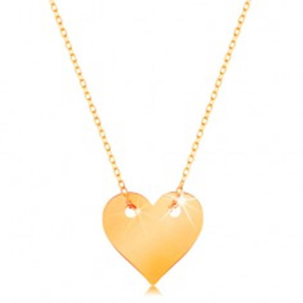 Šperky eshop Náhrdelník v žltom 14K zlate - malé súmerné ploché srdce, jemná retiazka