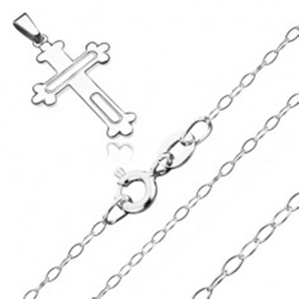 Šperky eshop Náhrdelník zo striebra 925 - kríž s trojlístkami a vyrytými oválmi, lesklá retiazka