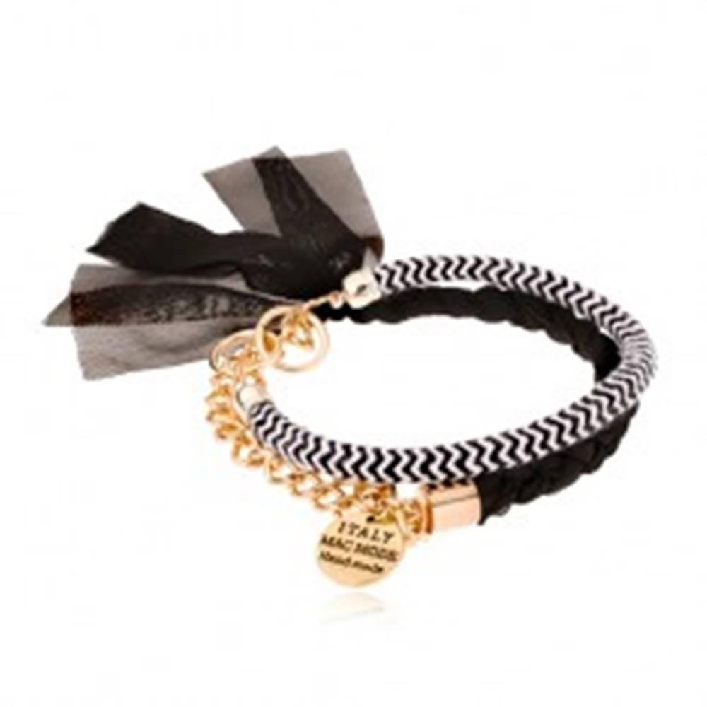Šperky eshop Náramok, pletená stužka a dvojfarebná šnúrka, retiazka so známkou