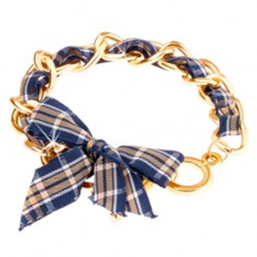 Šperky eshop Náramok, retiazka zlatej farby, károvaná stužka, americké zapínanie