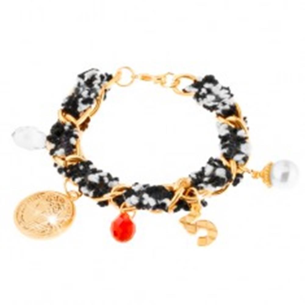 Šperky eshop Náramok, retiazka zlatej farby, textilný pásik, drobné ozdobné prívesky
