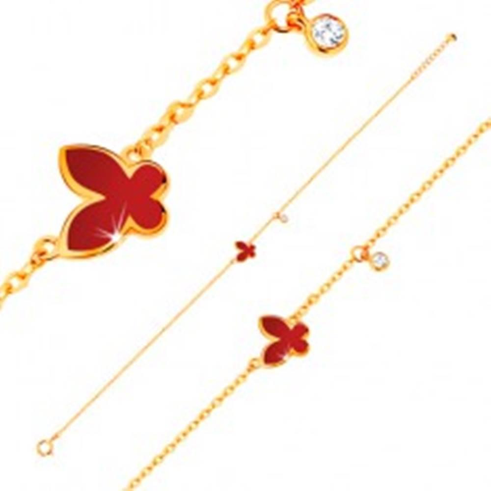 Šperky eshop Náramok v žltom 14K zlate - glazúrovaný červený motýľ a okrúhly zirkónik čírej farby