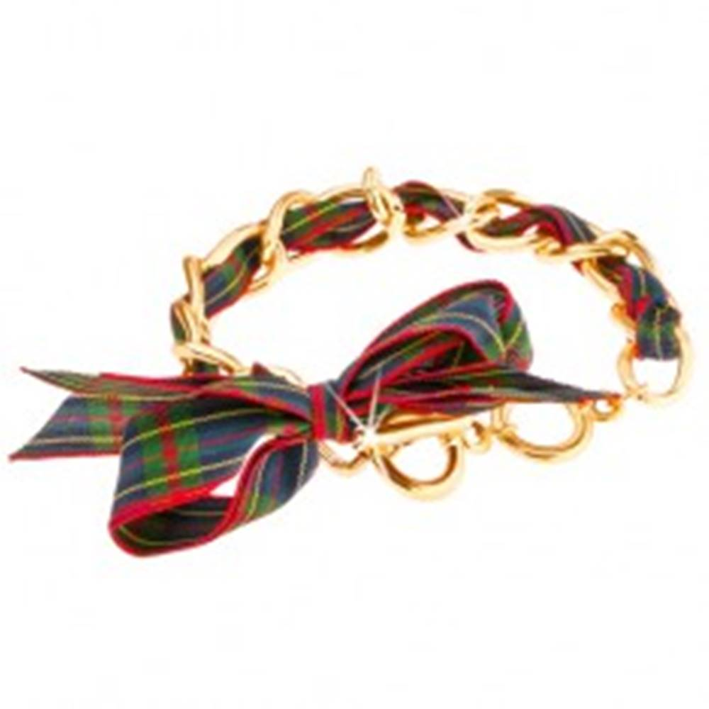 Šperky eshop Náramok - vlnité očká zlatej farby, zeleno-modrá károvaná stužka, mašľa