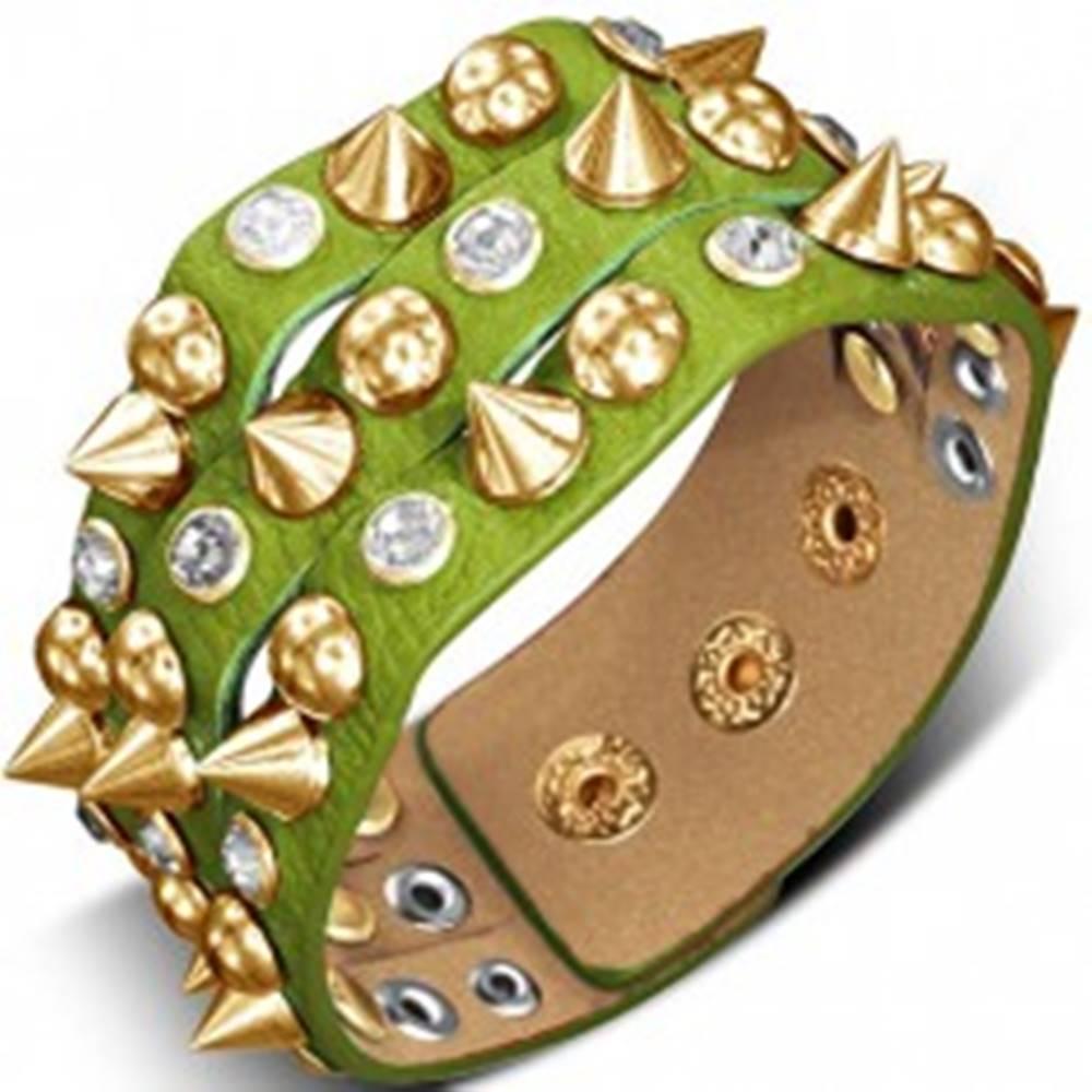 Šperky eshop Náramok vyrobený z kože - zelený so špicom, pologuľou a kameňom