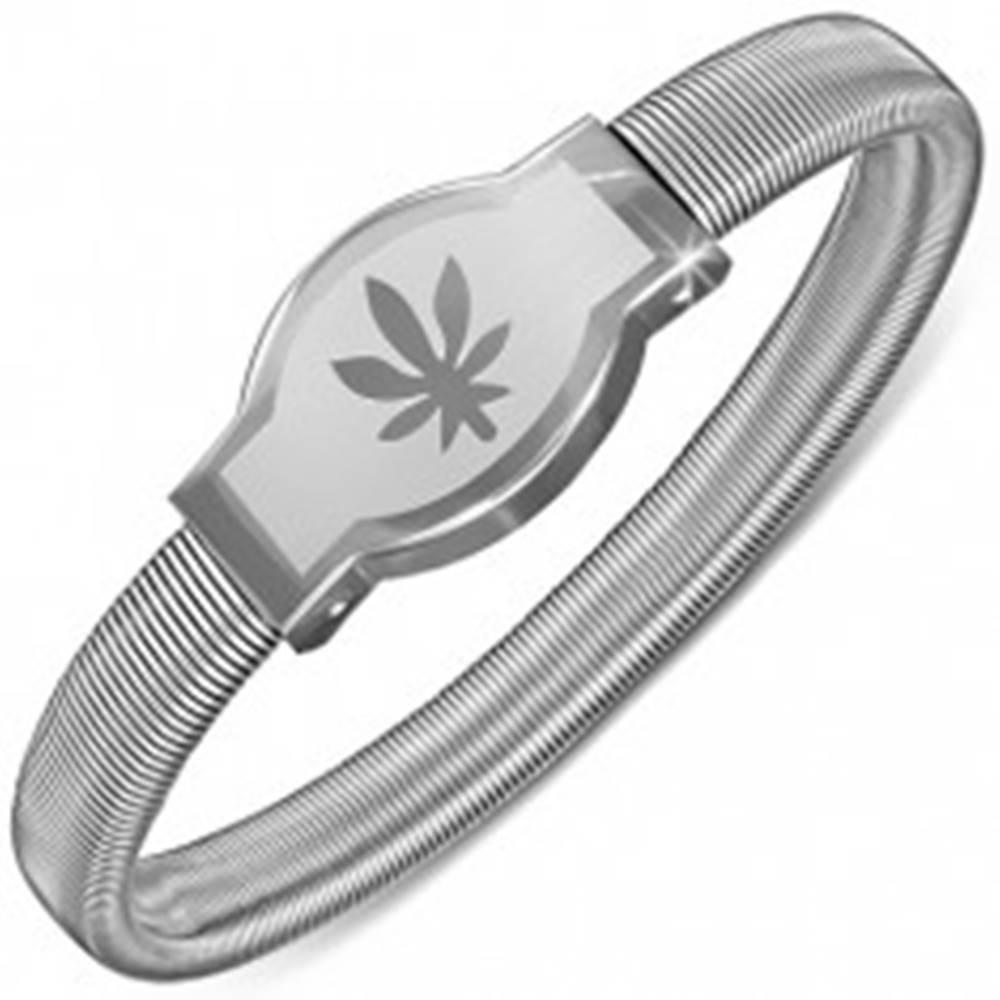 Šperky eshop Náramok z ocele - zaoblená známka s listom konope, rozťahovací