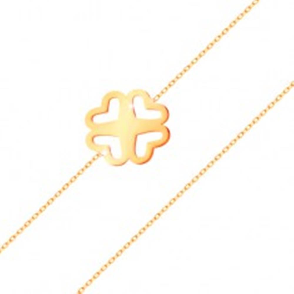Šperky eshop Náramok zo žltého zlata 585 - tenká retiazka, vyrezávaný štvorlístok
