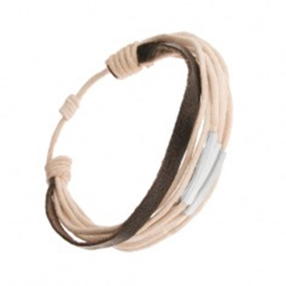 Šperky eshop Nastaviteľný šnúrkový náramok, béžová a čierna farba, články z ocele