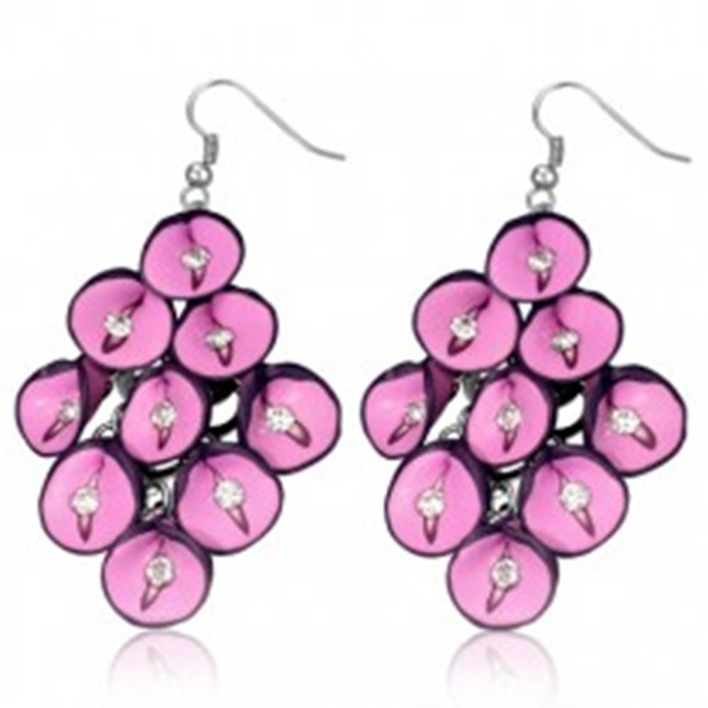 Šperky eshop Náušnice FIMO - ružové antúrie so zirkónmi v strapci