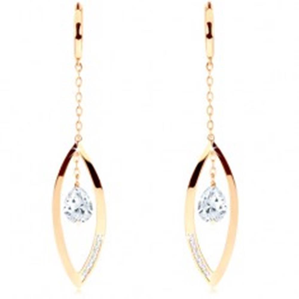 Šperky eshop Náušnice v žltom 14K zlate - krúžok, lesklá kontúra zrnka, číra zirkónová slza
