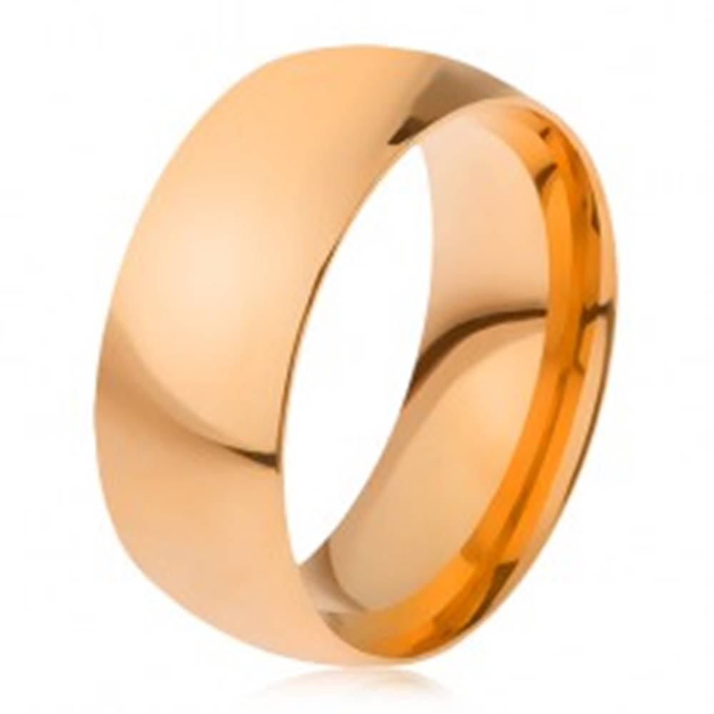 Šperky eshop Obrúčka z ocele 316L zlatej farby, lesklý hladký povrch, 8 mm - Veľkosť: 56 mm