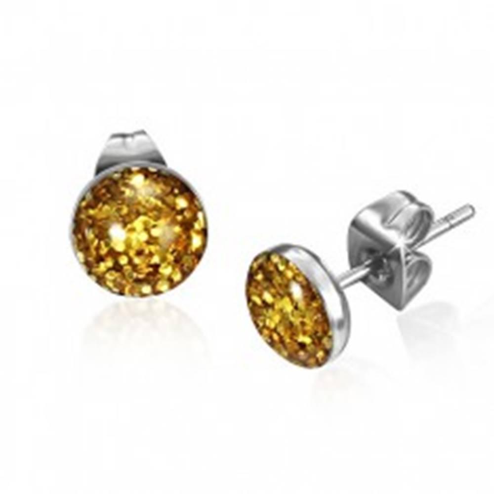 Šperky eshop Oceľové náušnice s trblietkami zlatej farby v kruhu s glazúrou