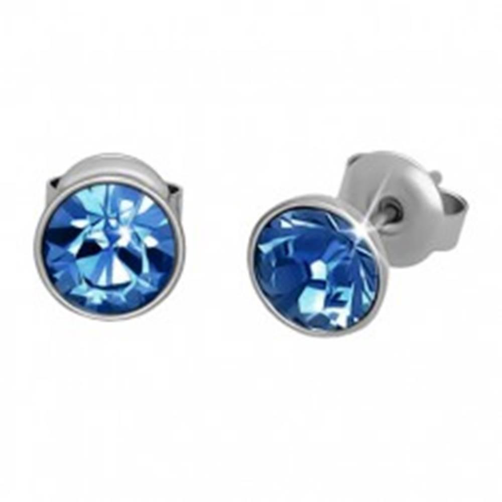 Šperky eshop Oceľové náušnice, strieborná farba, modrý okrúhly zirkón, puzetky, 7 mm