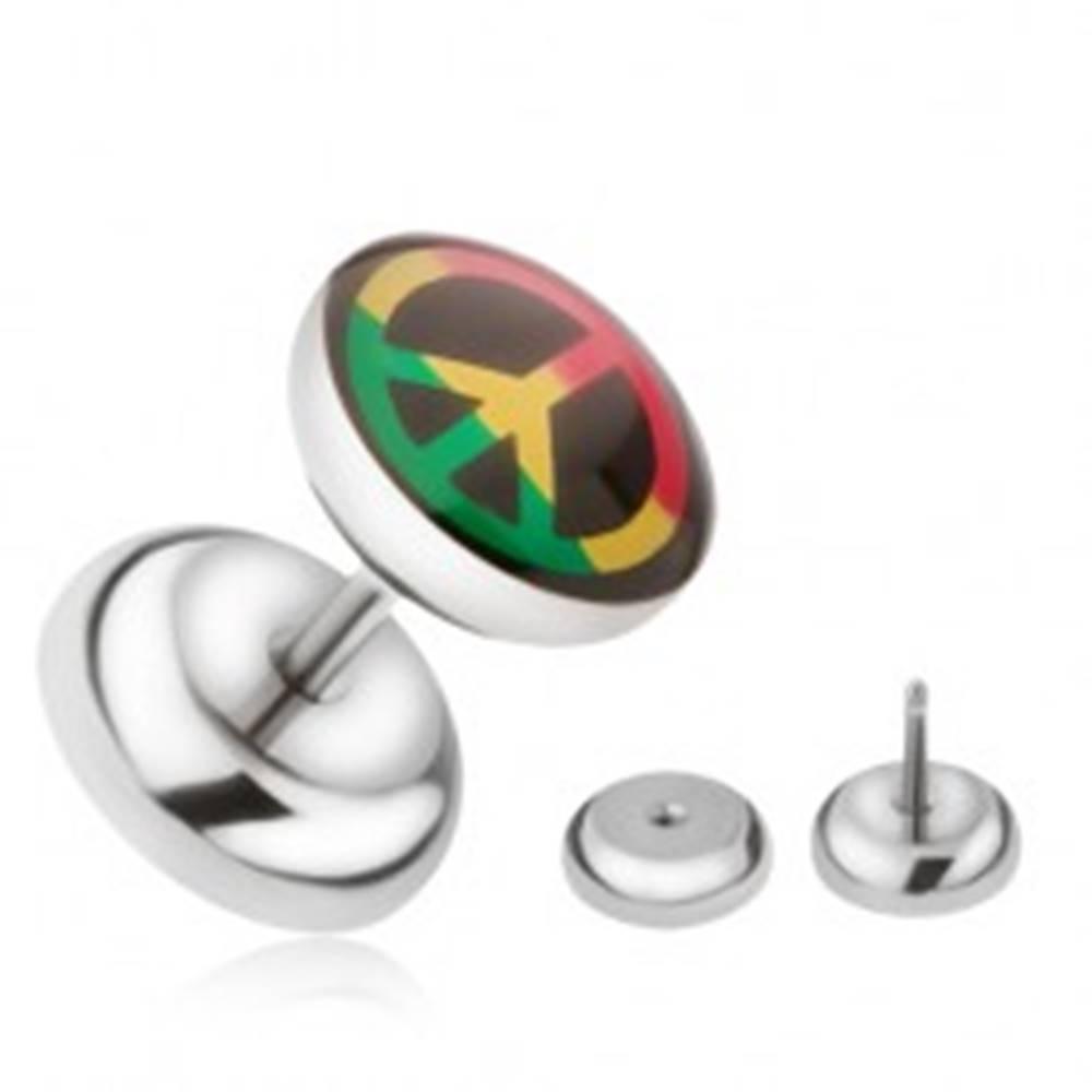 Šperky eshop Oceľový falošný plug do ucha, trojfarebný znak Peace