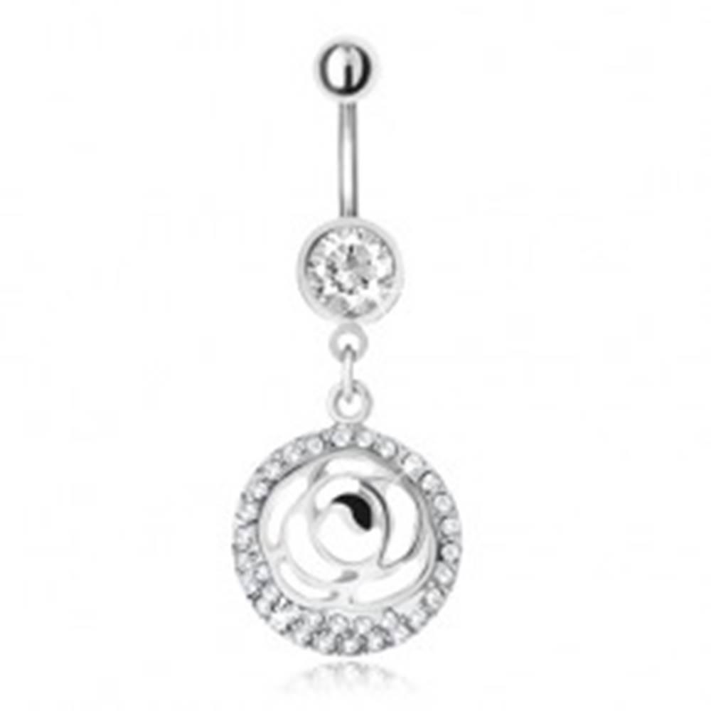 Šperky eshop Oceľový piercing do pupka, zirkónový kruh a vyrezávaný kvet