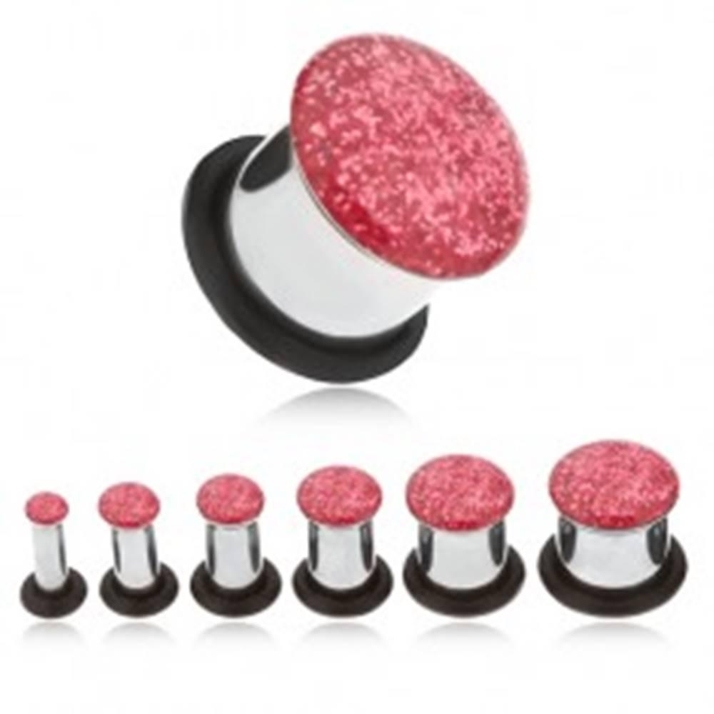 Šperky eshop Oceľový tunel plug do ucha, ružové glitre - Hrúbka: 10 mm