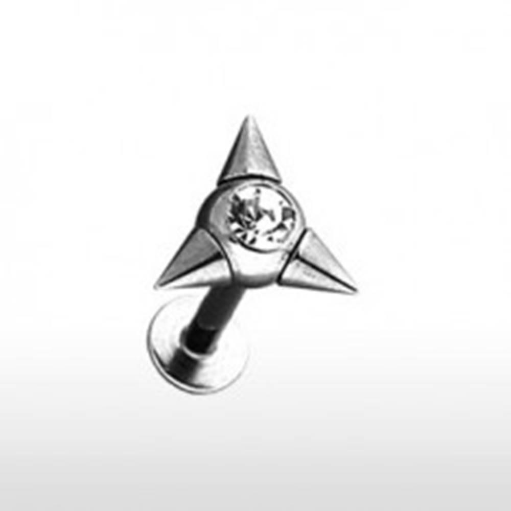 Šperky eshop Piercing do brady Labret s troma hrotmi so zirkónom